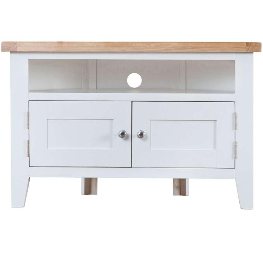 Taunton White Corner Tv Unit | Charlies Direct Throughout White Corner Tv Cabinets (View 8 of 20)