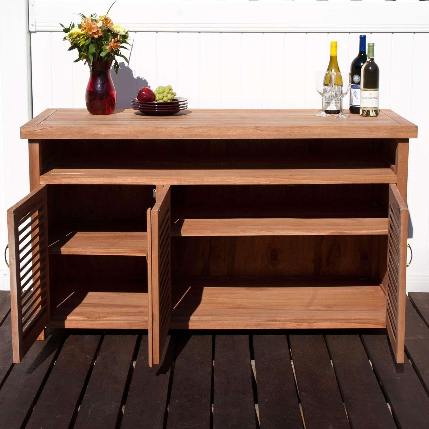 Teak Outdoor Buffet With Storage – Outdoor Pertaining To Outdoor Sideboards Cabinets (View 18 of 20)