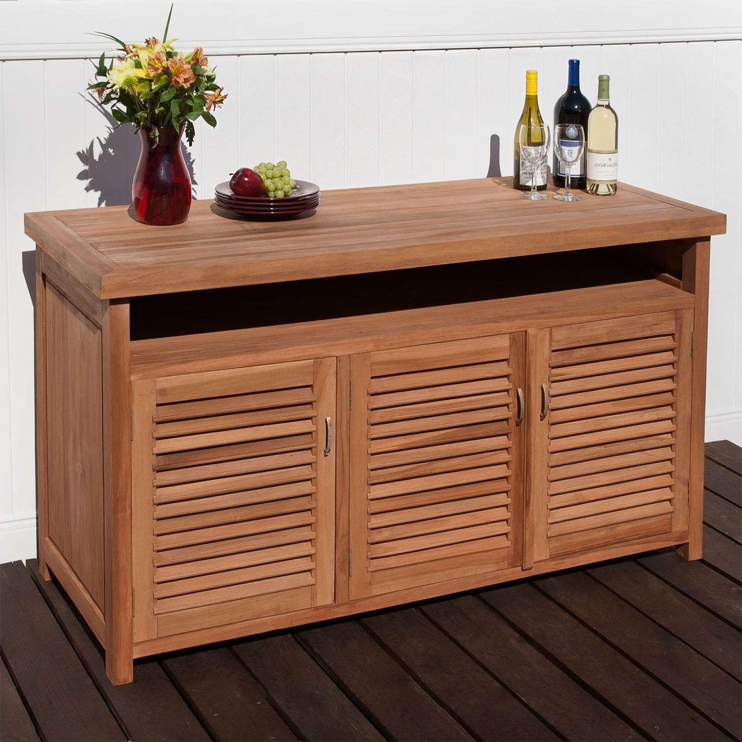 Teak Outdoor Buffet With Storage – Outdoor With Regard To Outdoor Sideboards Tables (View 1 of 20)