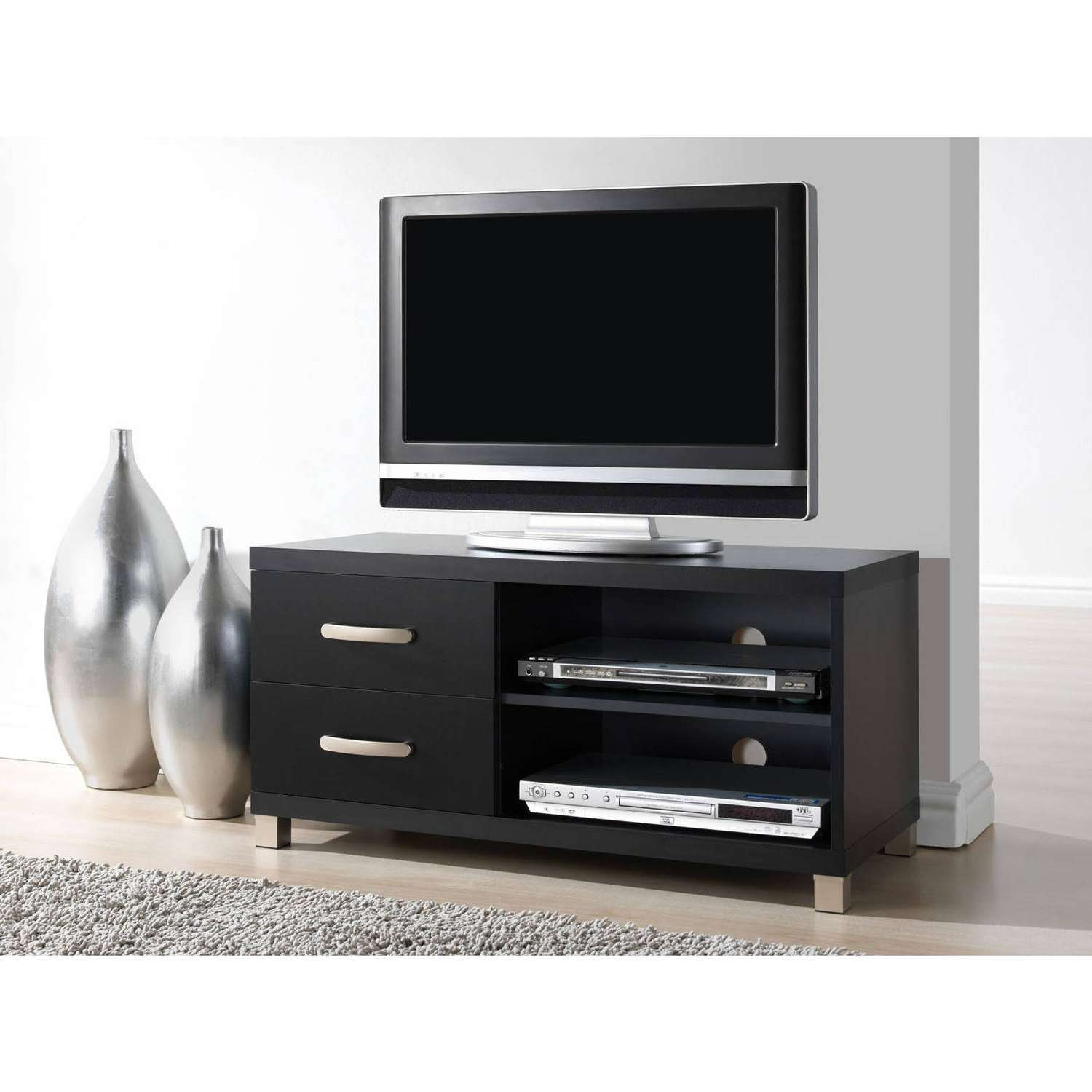 Techni Mobili 2 Drawer Tv Cabinet, Black – Walmart For Black Tv Cabinets With Drawers (View 15 of 20)