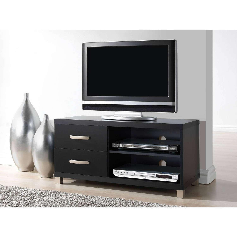 Techni Mobili 2 Drawer Tv Cabinet, Black – Walmart With Regard To Black Tv Cabinets With Drawers (View 4 of 20)