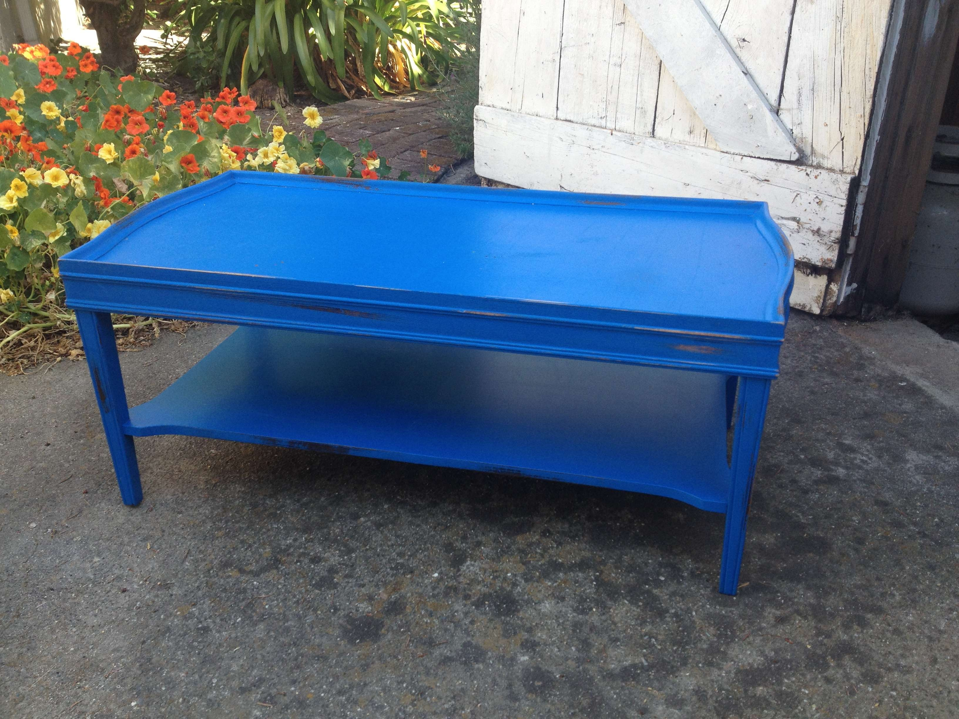 The Ultimate Intervpainting A Coffee Table With Nice Blue Painted For Latest Blue Coffee Tables (View 14 of 20)