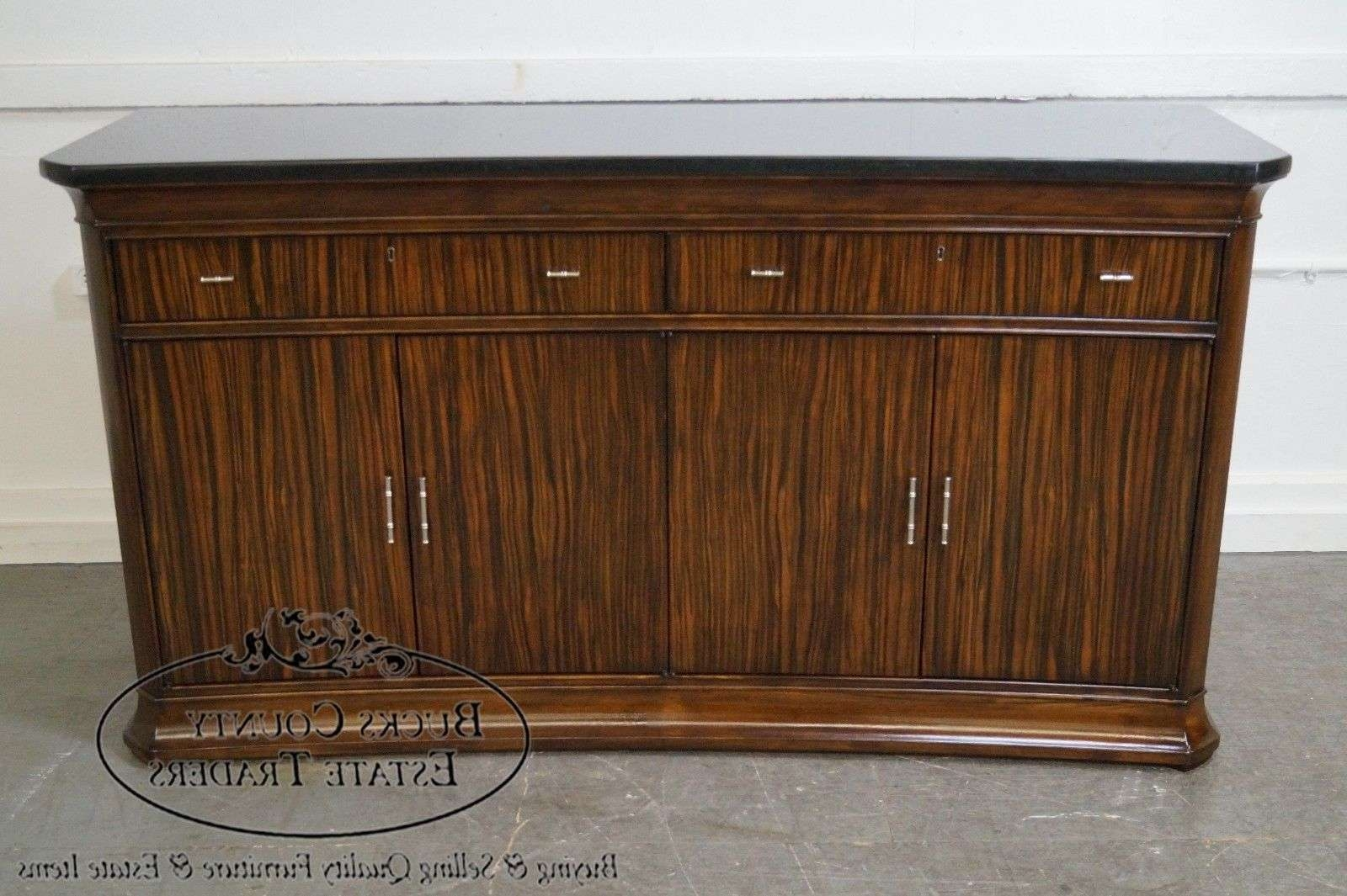 Thomasville French Art Deco Style Granite Top Buffet Sideboard Pertaining To Thomasville Sideboards (View 12 of 20)