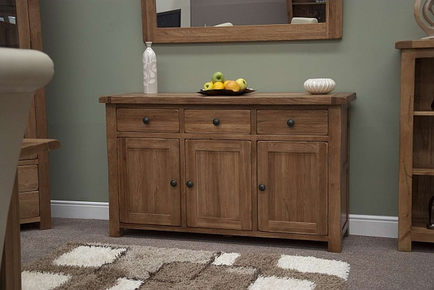 Tilson Solid Rustic Oak Dining Living Room Furniture Large Storage Within Living Room Sideboards (View 18 of 20)