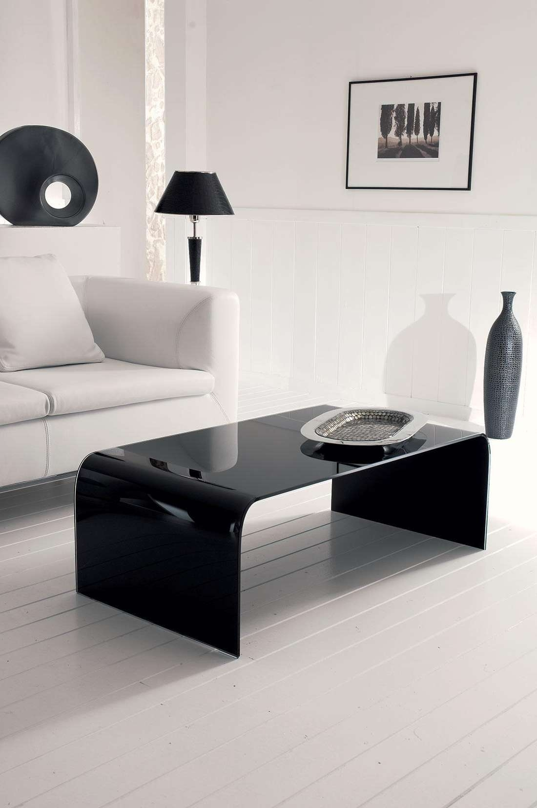 Titano Curved Black Glass Coffee Table (View 8 of 20)