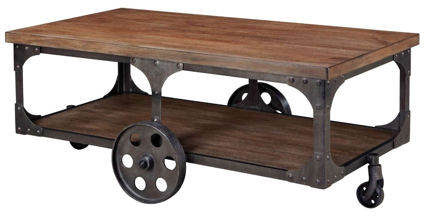 Total Fab: Modern Industrial Warehouse & Railroad Cart Coffee With Best And Newest Wheels Coffee Tables (View 16 of 20)