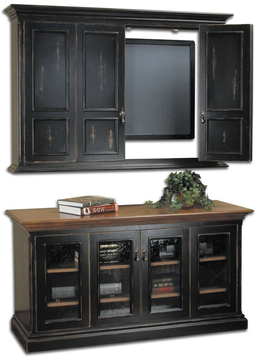 Traditional Entertainment Centers For Wall Mounted Flat Screen Tvs With Black Tv Cabinets With Doors (View 12 of 20)