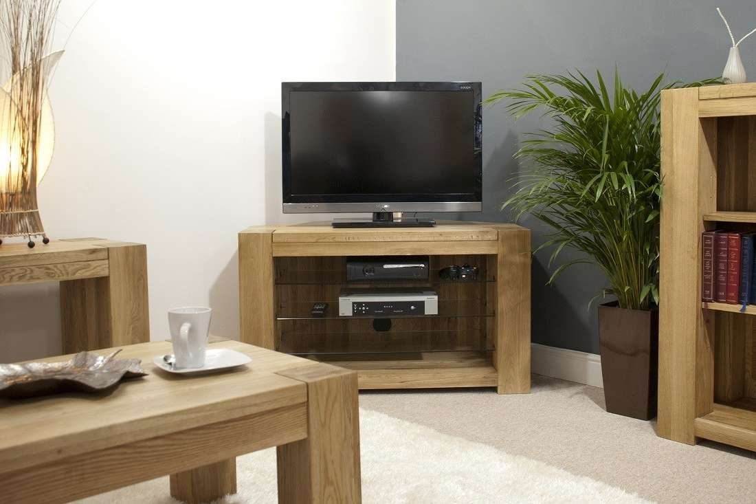 Trend Solid Oak Corner Tv Unit | Oak Furniture Uk Intended For Light Oak Corner Tv Cabinets (View 13 of 20)