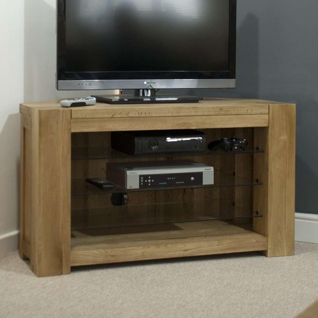 Trend Solid Oak Corner Tv Unit | Oak Furniture Uk With Dark Wood Corner Tv Cabinets (View 15 of 20)