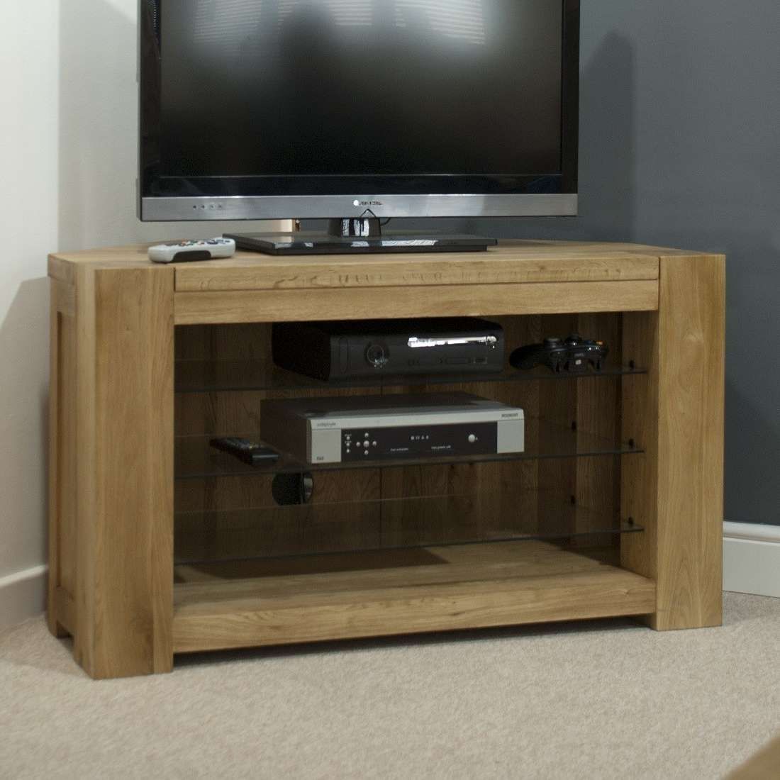 Trend Solid Oak Corner Tv Unit | Oak Furniture Uk With Light Oak Corner Tv Cabinets (View 14 of 20)