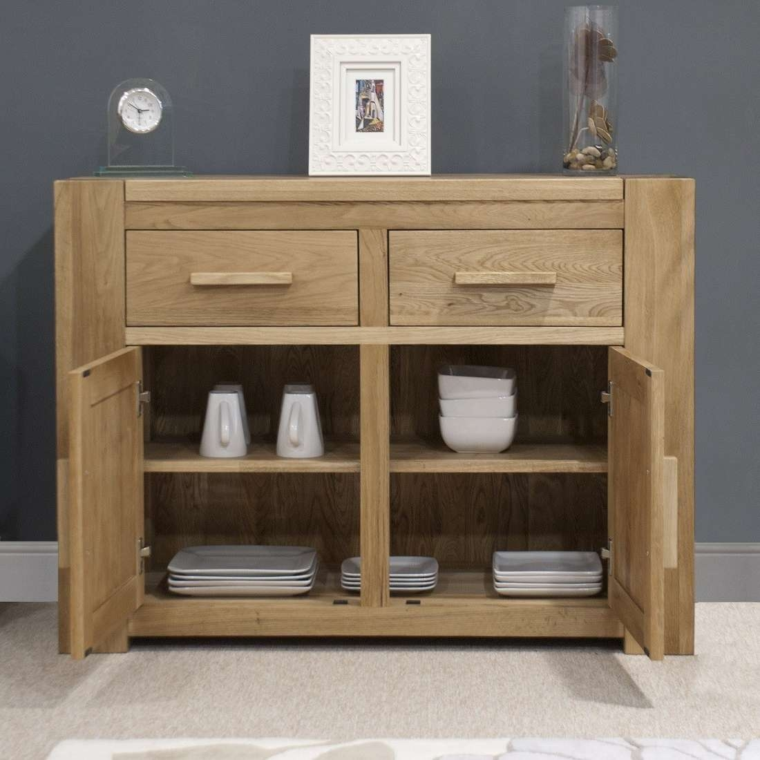 Trend Solid Oak Small 2 Door Sideboard | Oak Furniture Uk Within 2 Door Sideboards (View 17 of 20)