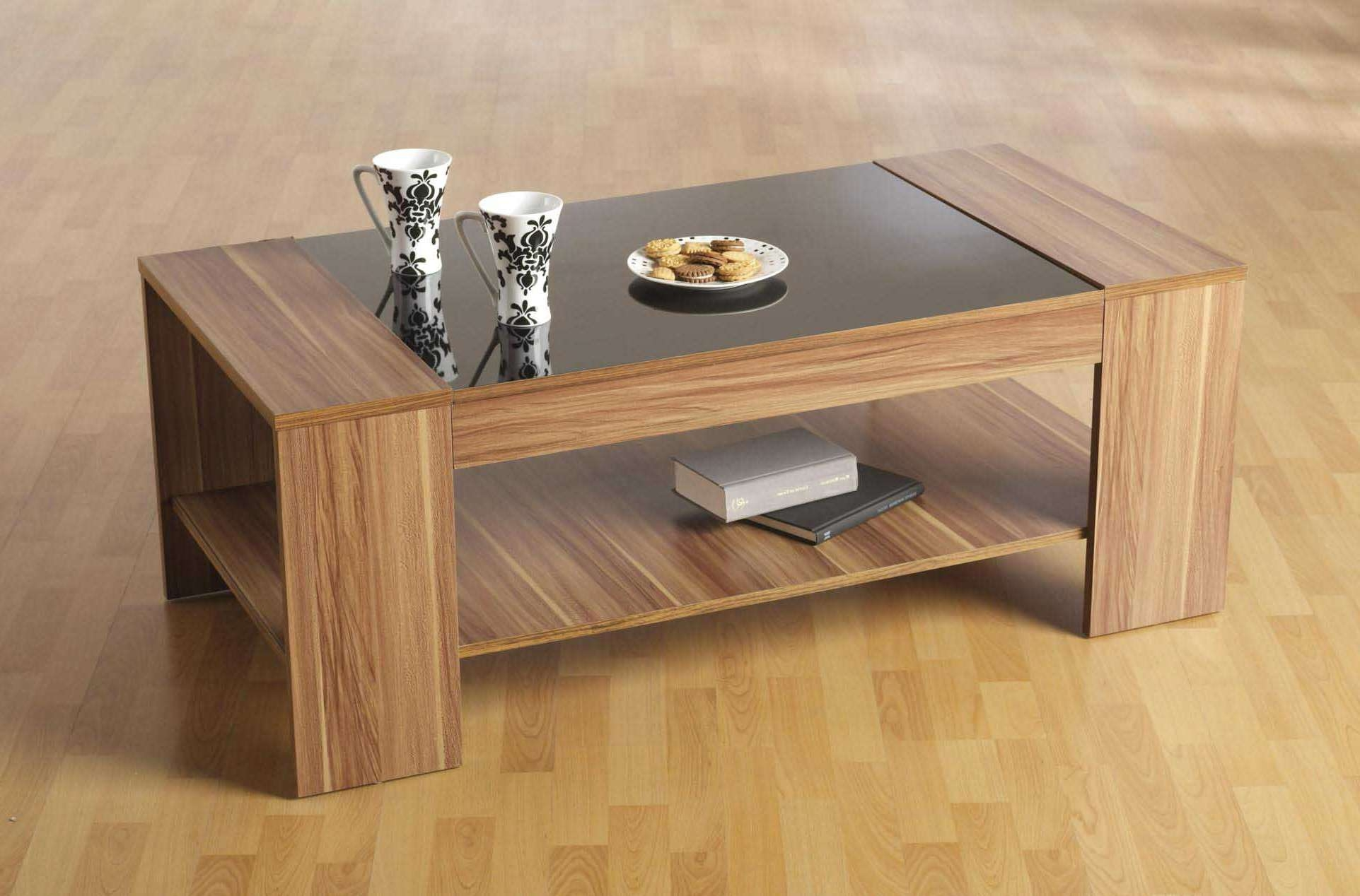 Trendy Black Wood And Glass Coffee Tables With Furniture : Stylish High Gloss Finish Acacia Slab Coffee Table (View 14 of 20)