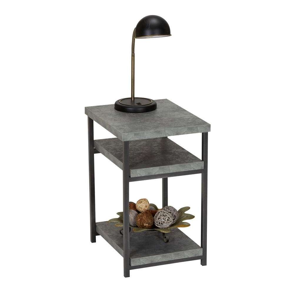 Trendy Cd Storage Coffee Tables With Regard To Household Essentials Gray Slate Faux Concrete Coffee Table With (View 18 of 20)