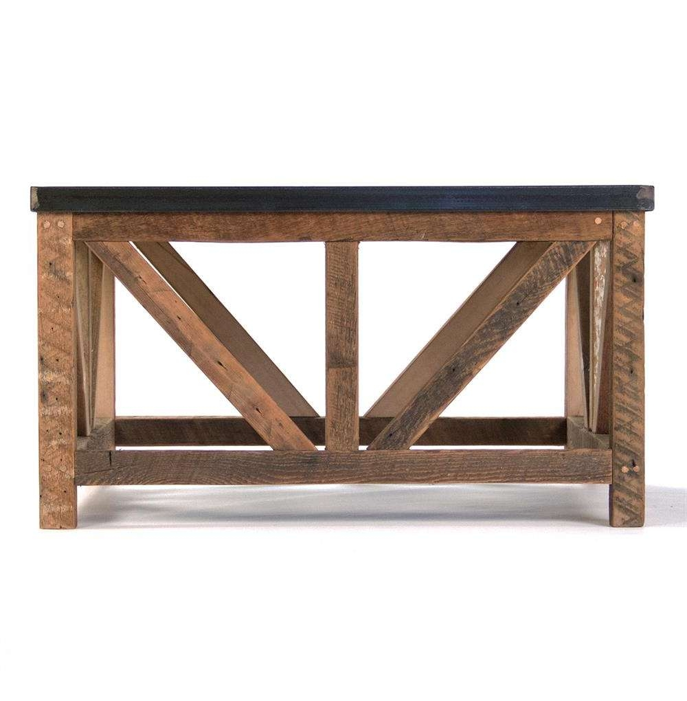 Trendy Chunky Wood Coffee Tables Within Regan Zinc Top Chunky Reclaimed Wood Rustic Coffee Table (View 13 of 20)