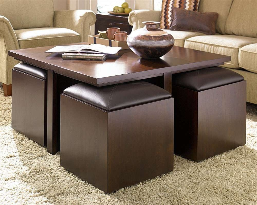 Trendy Dark Wood Coffee Table Storages For Brown Leather Ottoman Coffee Table Ideas (View 9 of 10)