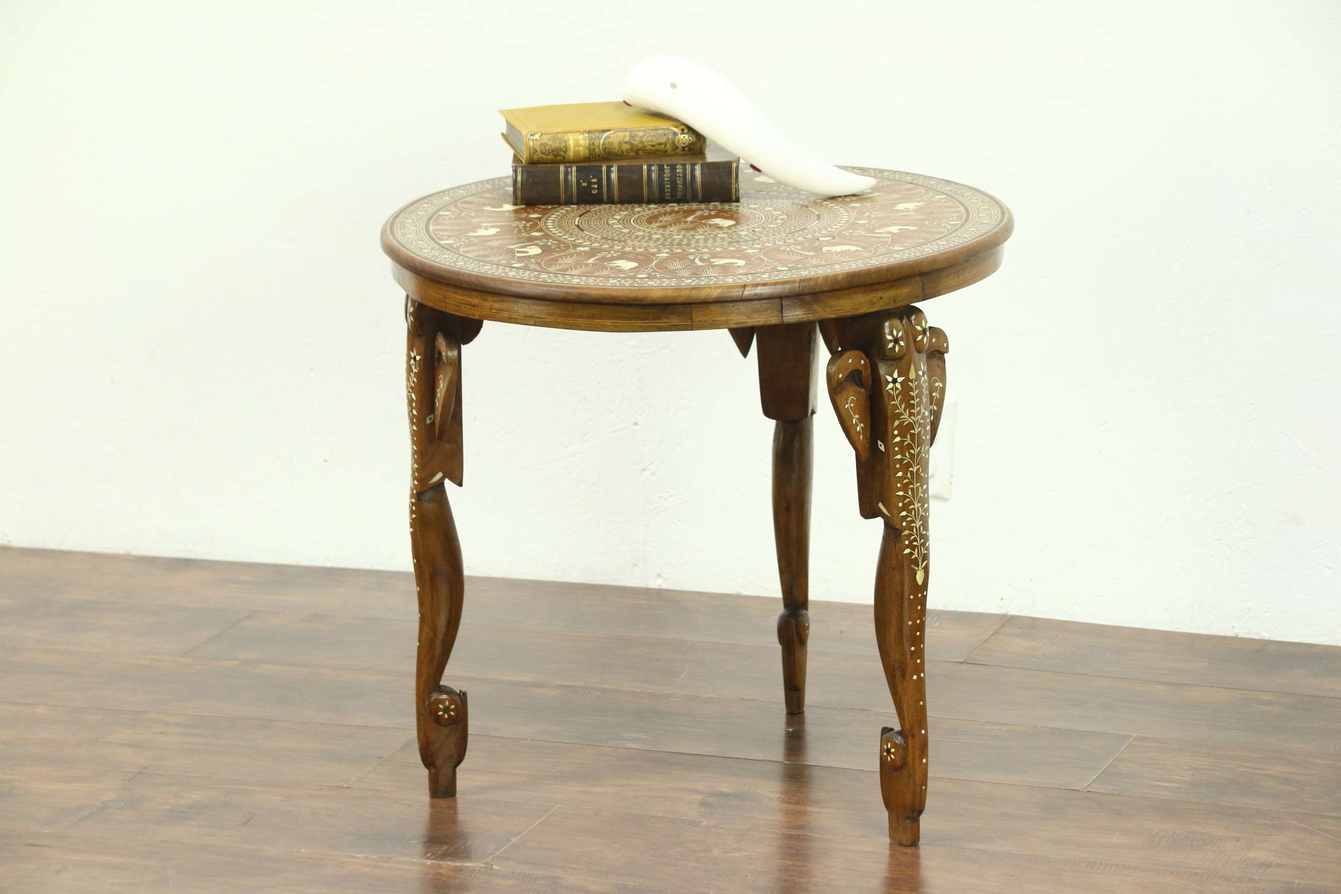 Trendy Elephant Coffee Tables Regarding Sold – Elephant Motif Inlaid Carved Teak & Bone Chairside Or (View 19 of 20)