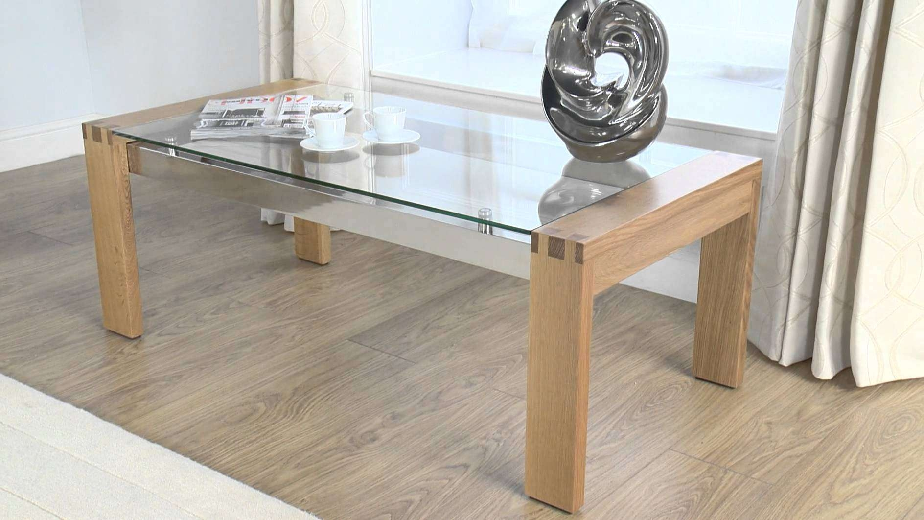 Trendy Glass Oak Coffee Tables Inside Glass Coffee Table: Cannes Glass/oak Coffee Table – Youtube (View 1 of 20)