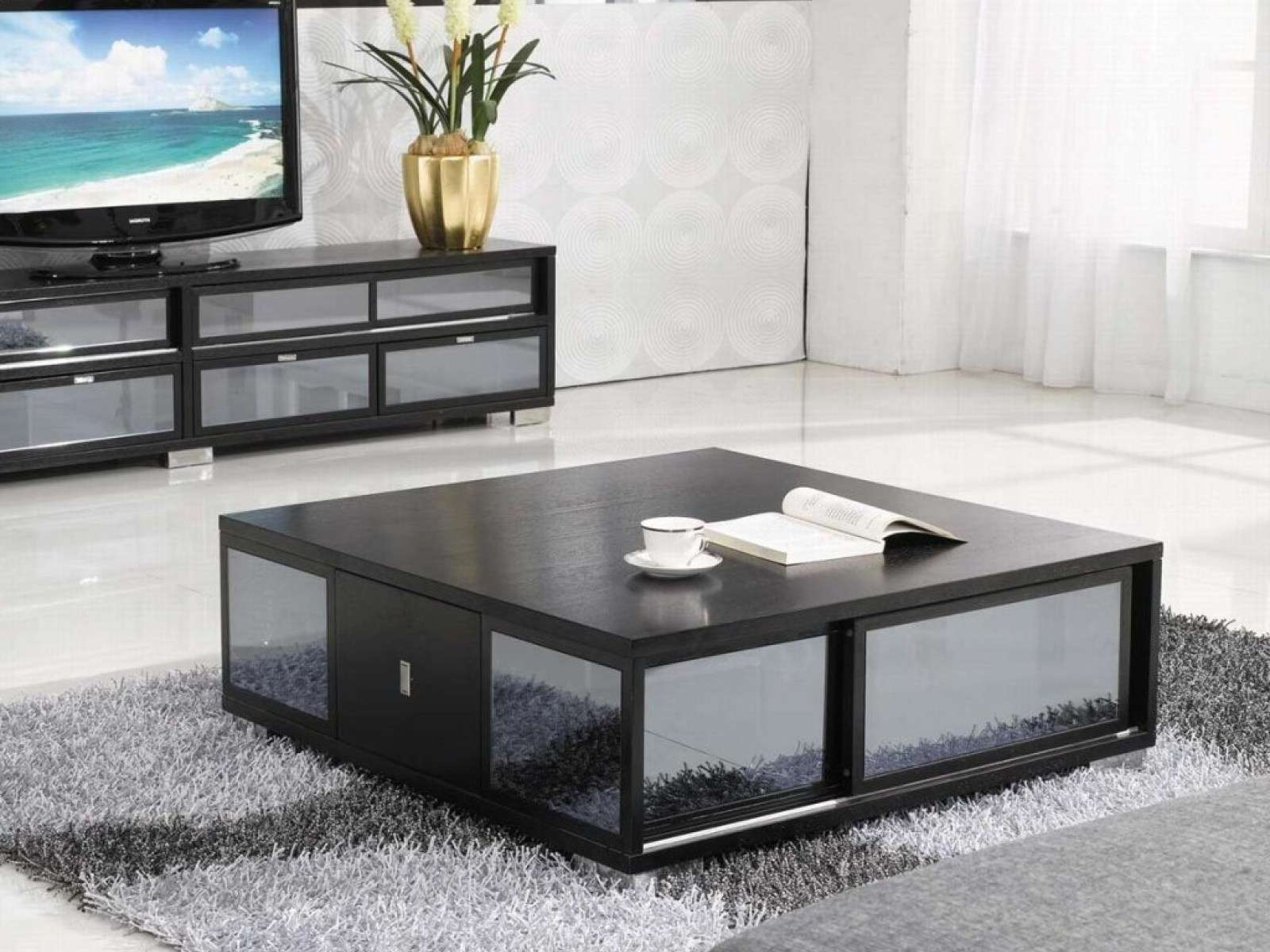 Trendy Large Square Coffee Table With Storage Regarding Coffee Tables : Cream Square Coffee Table Modern End Tables Black (View 18 of 20)