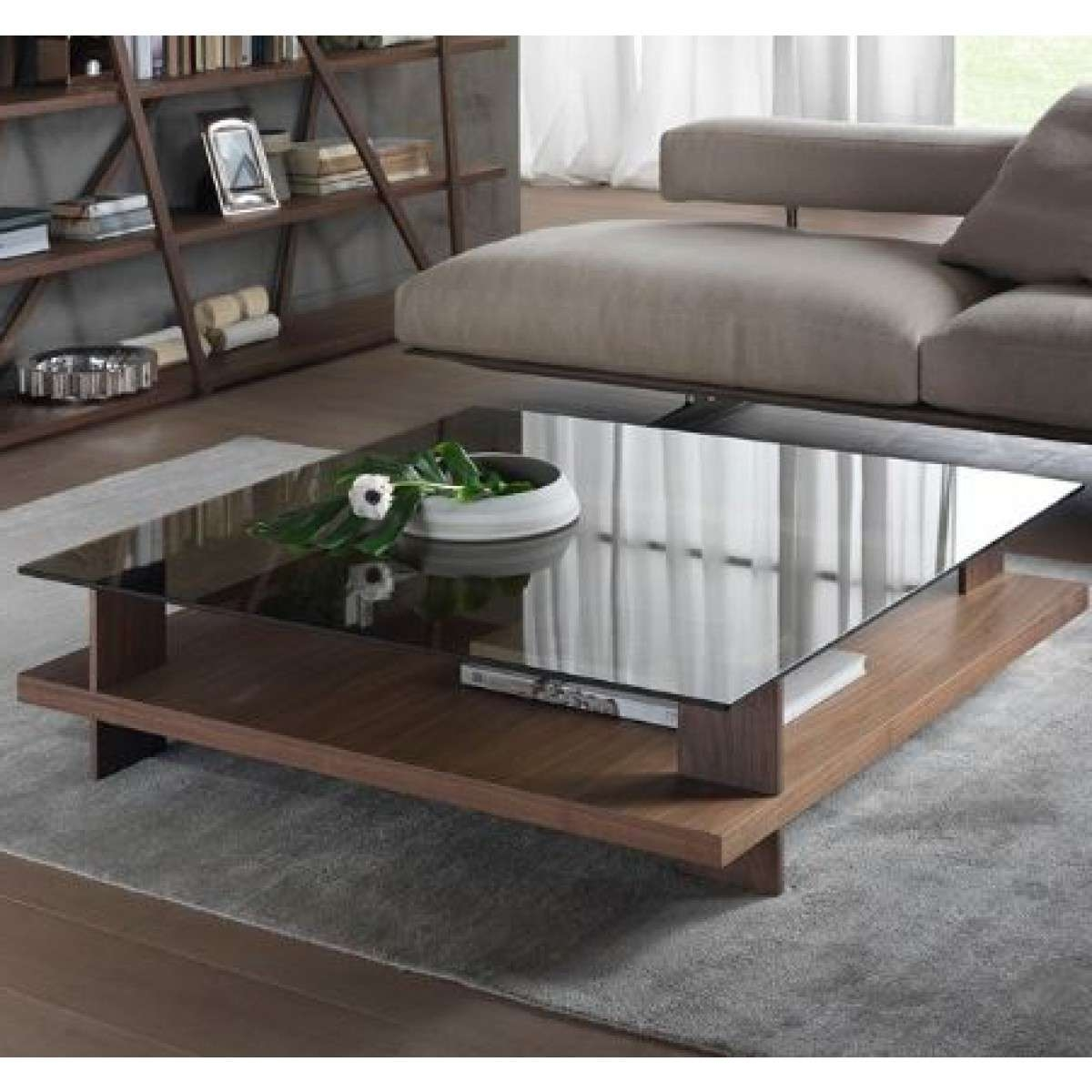 Trendy Large Square Glass Coffee Tables Within Coffee Tables : Img Wood Glass Coffee Table Woodgrain Reality (View 9 of 20)