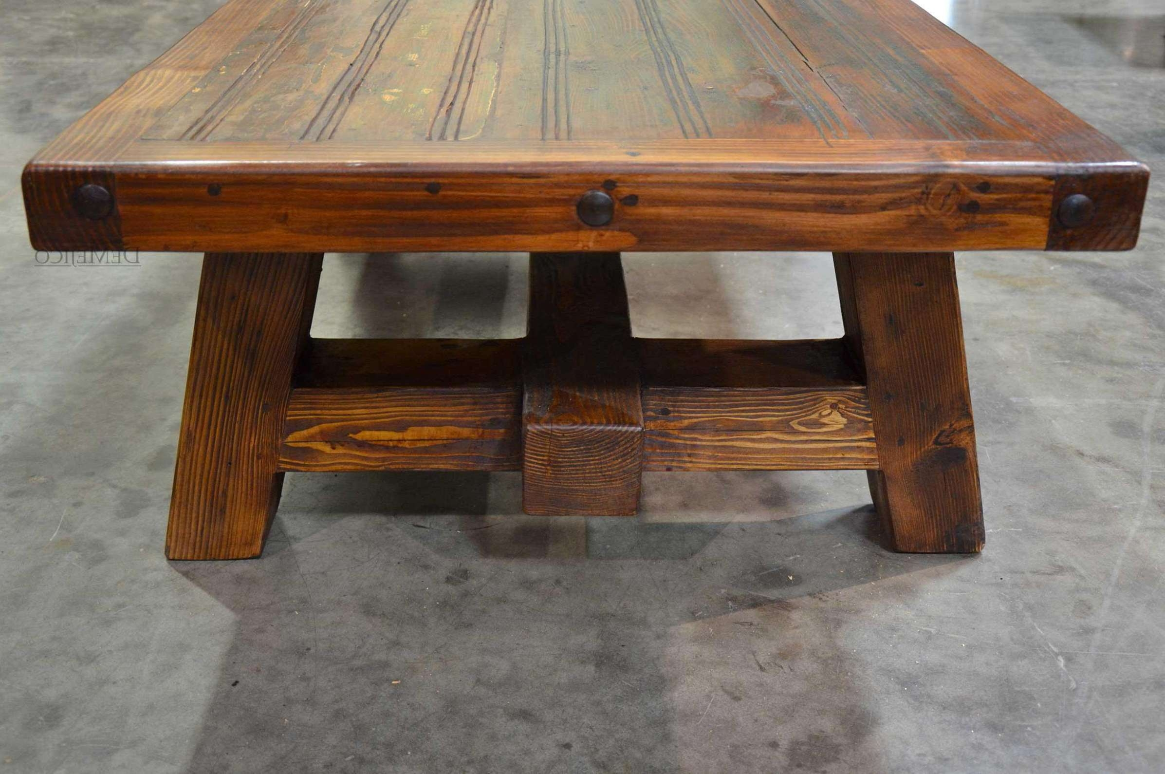 Trendy Large Square Wood Coffee Tables With Regard To Coffee Tables : Rustic Modern Coffee Table Large Round Cherry (View 18 of 20)