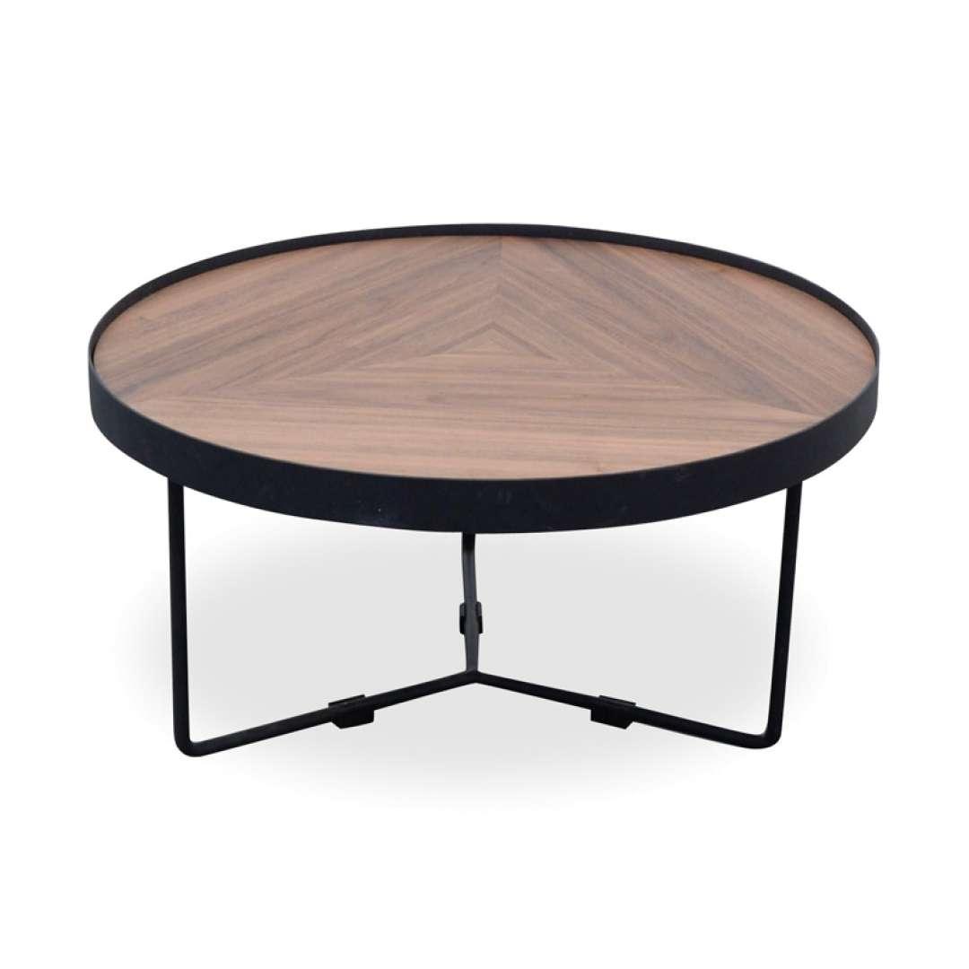 Trendy Luna Coffee Tables Regarding Luna 60x33cm Round Coffee Table – Walnut Top – Black Frame (View 2 of 20)