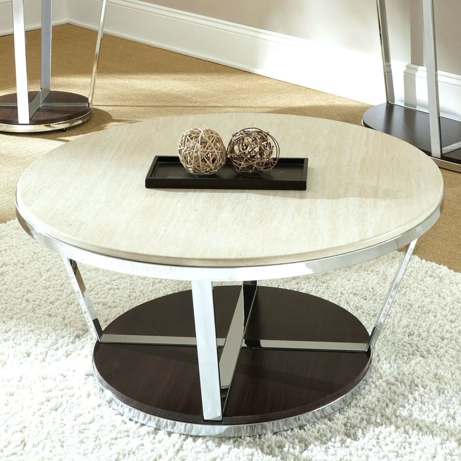 Trendy Marble And Metal Coffee Tables Within Coffee Tables : Round Wood Coffee Table With Shelf Marble Top (View 11 of 20)