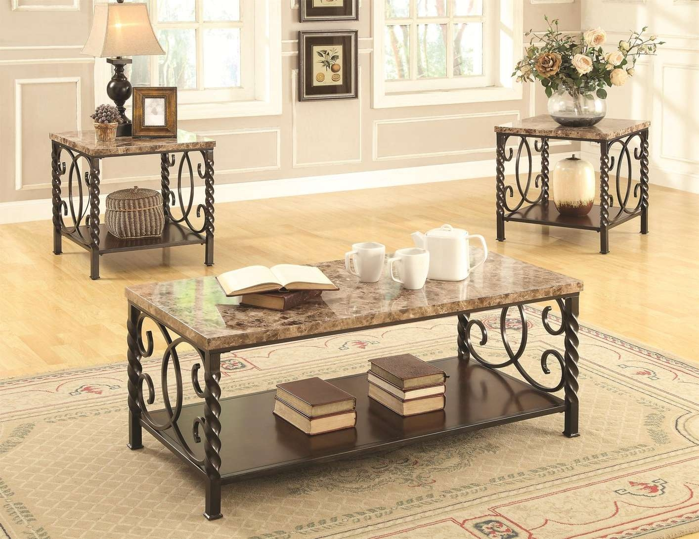 Trendy Marble Coffee Tables In Lockhart Brown Marble Coffee Table Set – Steal A Sofa Furniture (View 13 of 20)