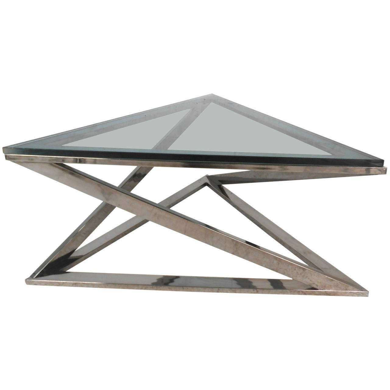 Trendy Modern Chrome Coffee Tables Throughout Mid Century Modern Milo Baughman Style Triangular Chrome Coffee (View 19 of 20)