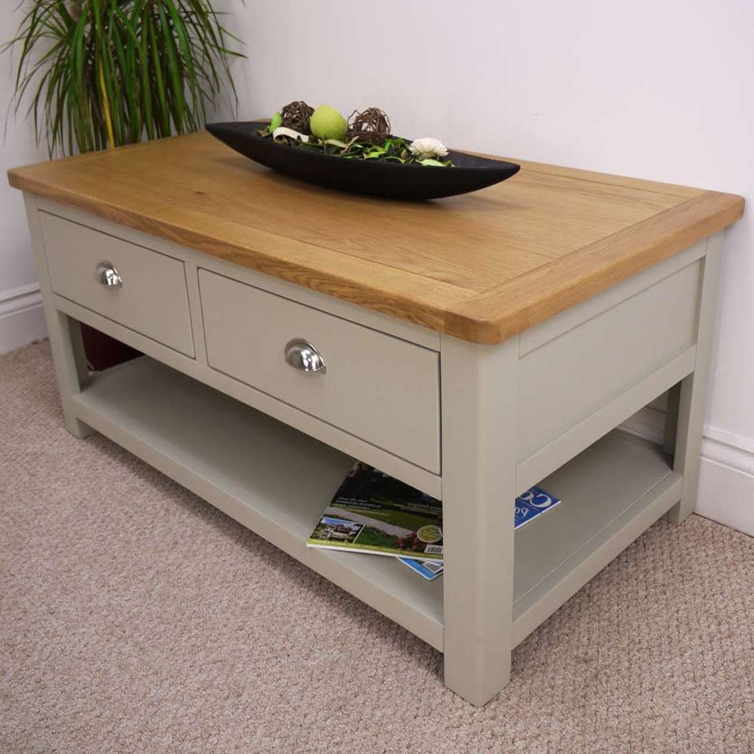 Trendy Oak Coffee Table With Drawers Pertaining To Aspen Oak Coffee Table With 2 Drawers & Shelf / Sage Grey Painted (View 18 of 20)