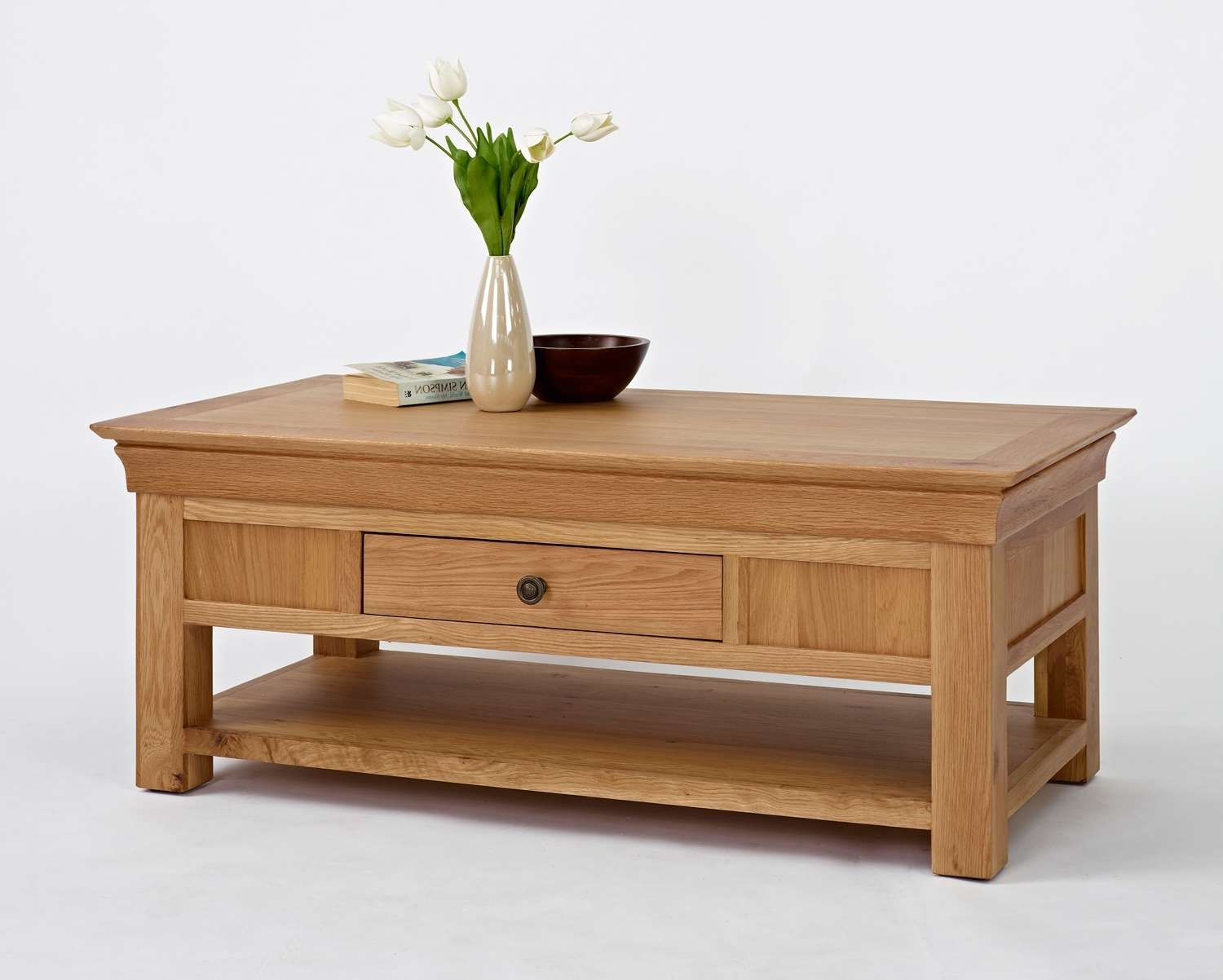 Trendy Oak Veneer Coffee Tables Inside Wimereux Oak Coffee Table With Shelf & Drawer, Uniques Furniture Shop (View 6 of 20)