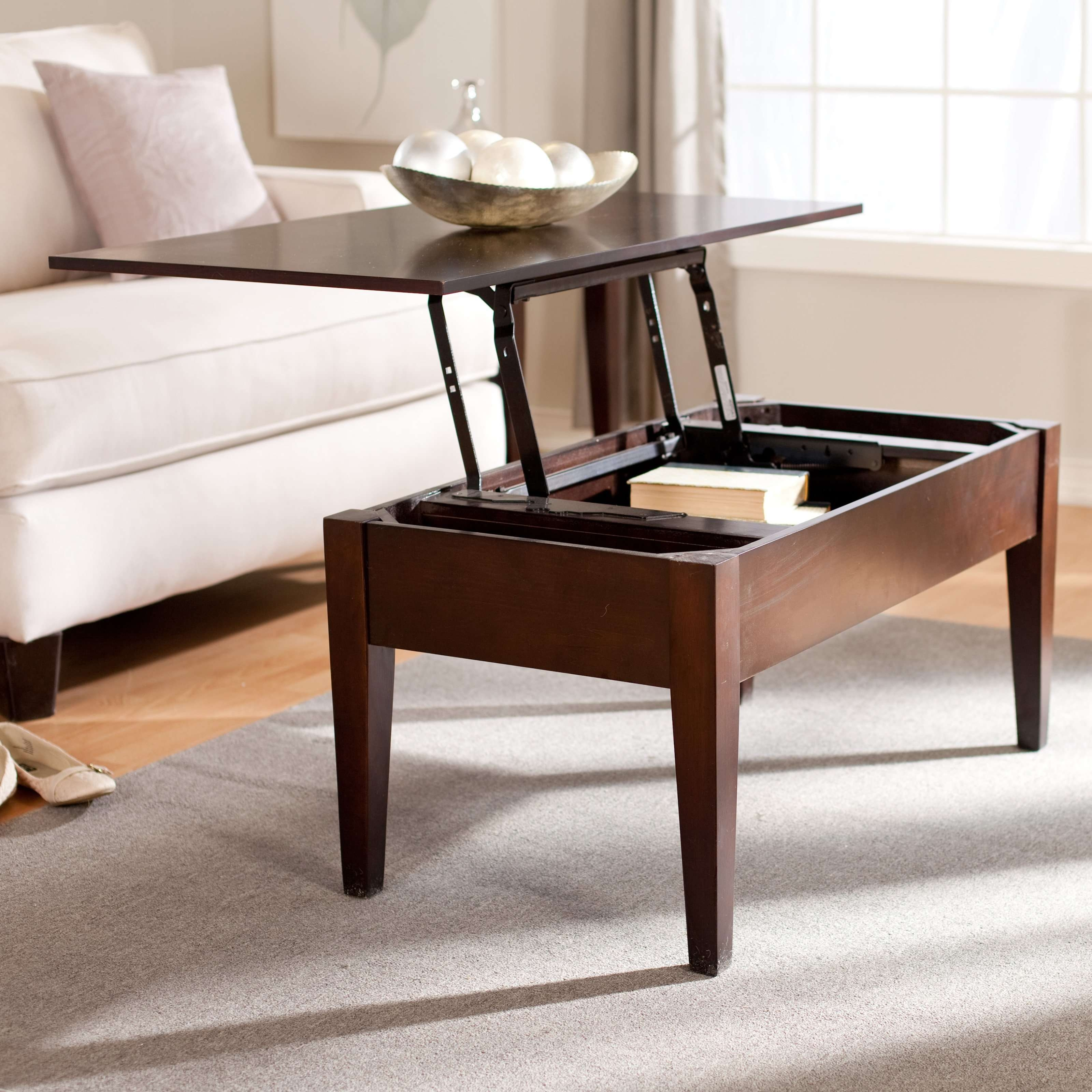 Trendy Pull Up Coffee Tables In White Fabric Sofa With Tiny Lift Top Coffee Table On Grey Accent (View 13 of 20)
