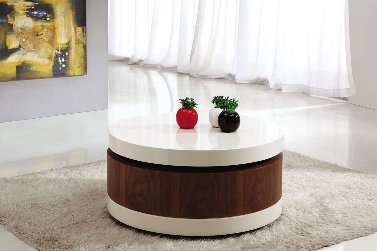 Trendy Red Round Coffee Tables Regarding Modern Round Coffee Table Design With Three Red Black White Small (View 15 of 16)