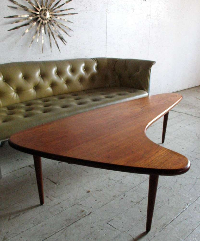 Trendy Retro Teak Glass Coffee Tables Intended For Coffee Tables : Modern Mid Century Danish Teak Boomerang Coffee (View 6 of 20)
