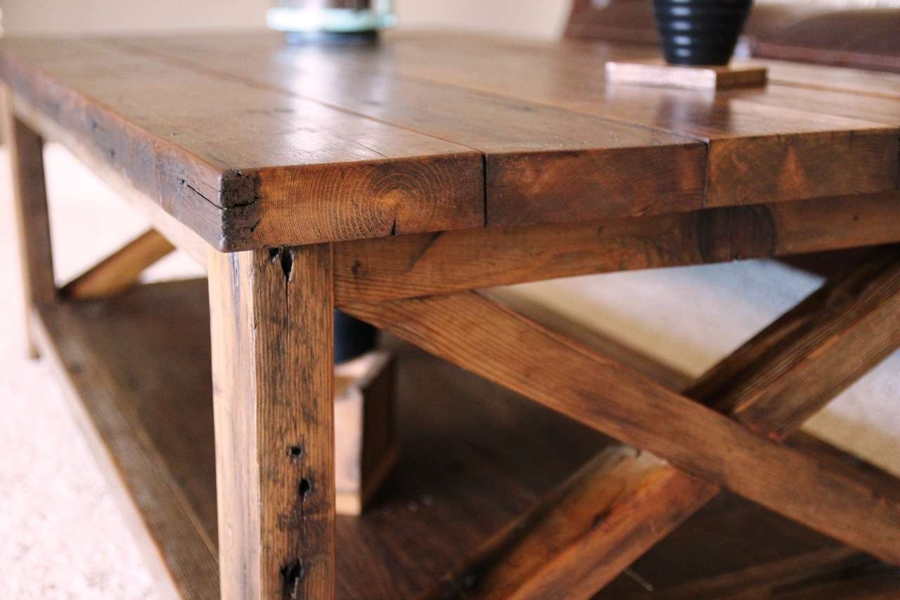 Trendy Rustic Coffee Tables With Bottom Shelf With Ana White (View 19 of 20)
