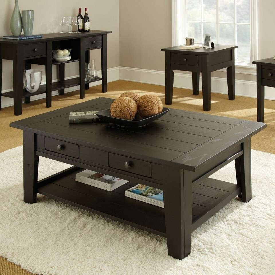 Trendy Square Dark Wood Coffee Tables For Delightful Table Set
