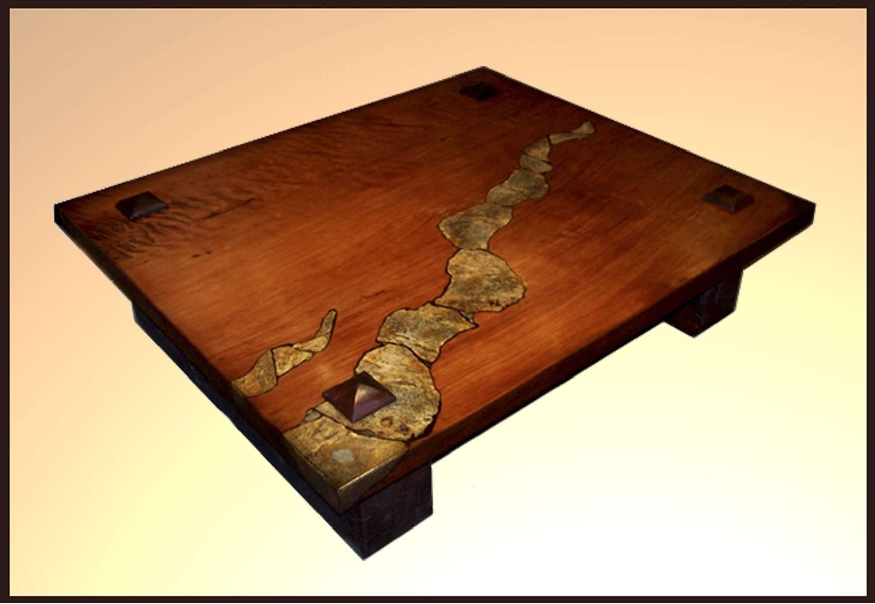 Trendy Square Stone Coffee Tables Regarding Fashionable Very Low Square Wooden Base With Stone Coffee Table (View 19 of 20)