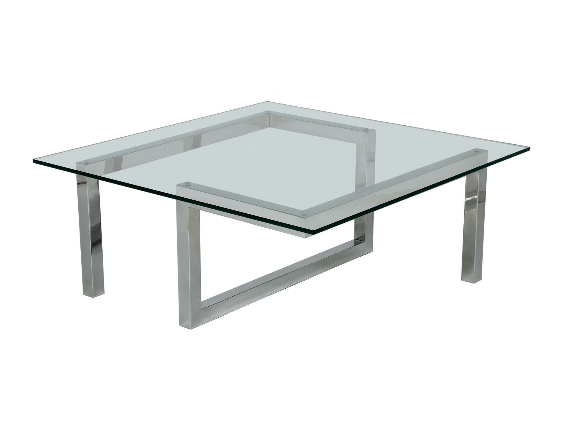 Trendy Steel And Glass Coffee Tables Within Decorations : Modern Glass Top Coffee Tables With Metal Base (View 10 of 20)