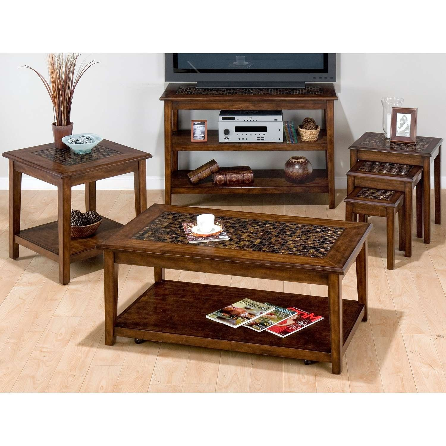 Trendy Tv Stand Coffee Table Sets With Regard To Jofran Baroque Mosaic Tile Top Coffee Table Set (View 17 of 20)