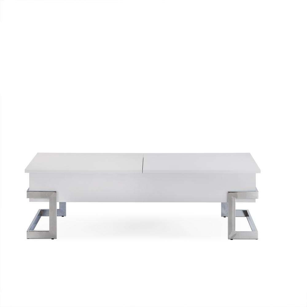 Trendy White And Chrome Coffee Tables Inside Acme Furniture Calnan White And Chrome Coffee Table 81850 – The (View 5 of 20)