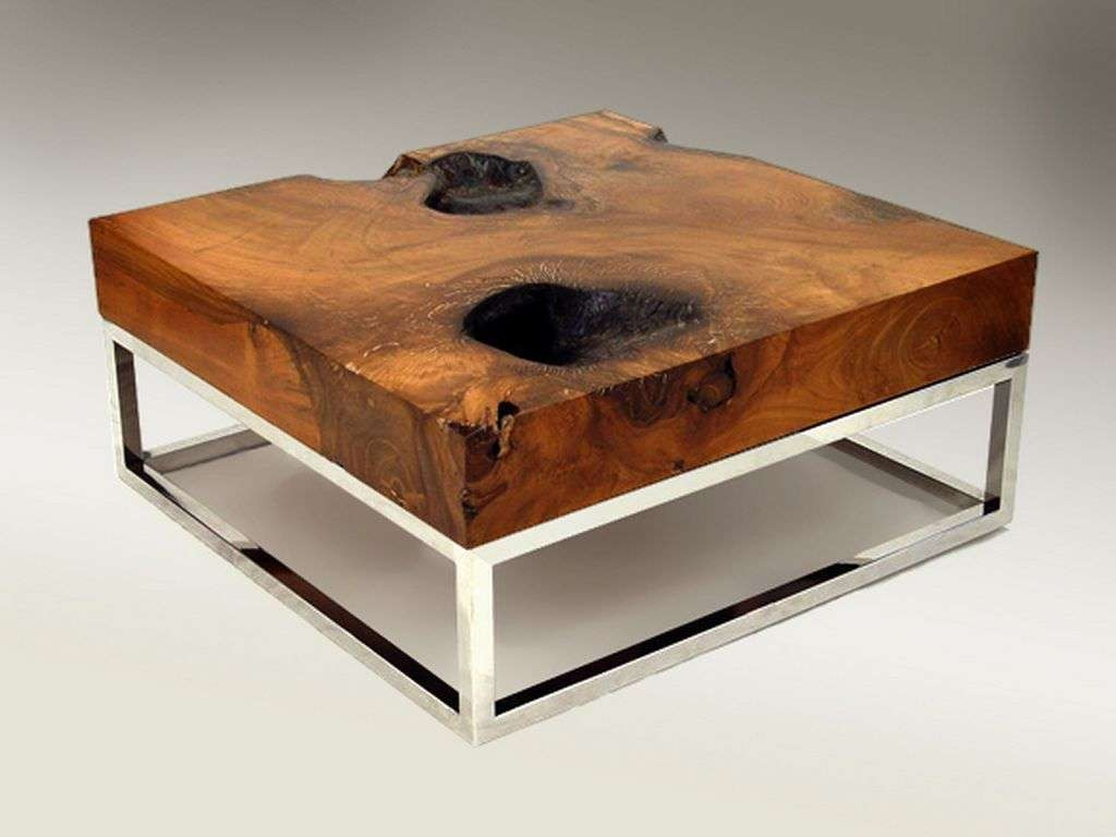 Trendy Wood Chrome Coffee Tables Throughout Furniture : Breathtaking Rectangular Cocktail Coffee Table Design (View 20 of 20)