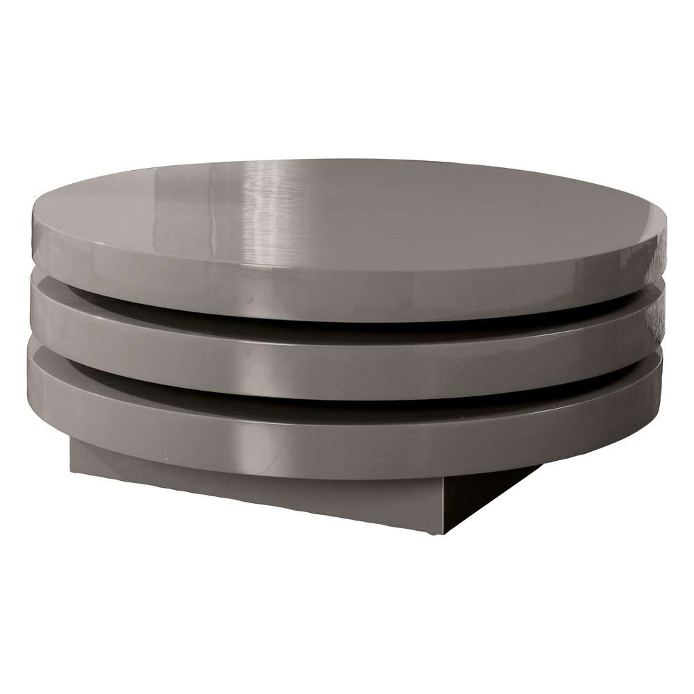 Triplo Round Gloss Swivel Coffee Table Stone – Dwell For Current Swivel Coffee Tables (View 16 of 20)