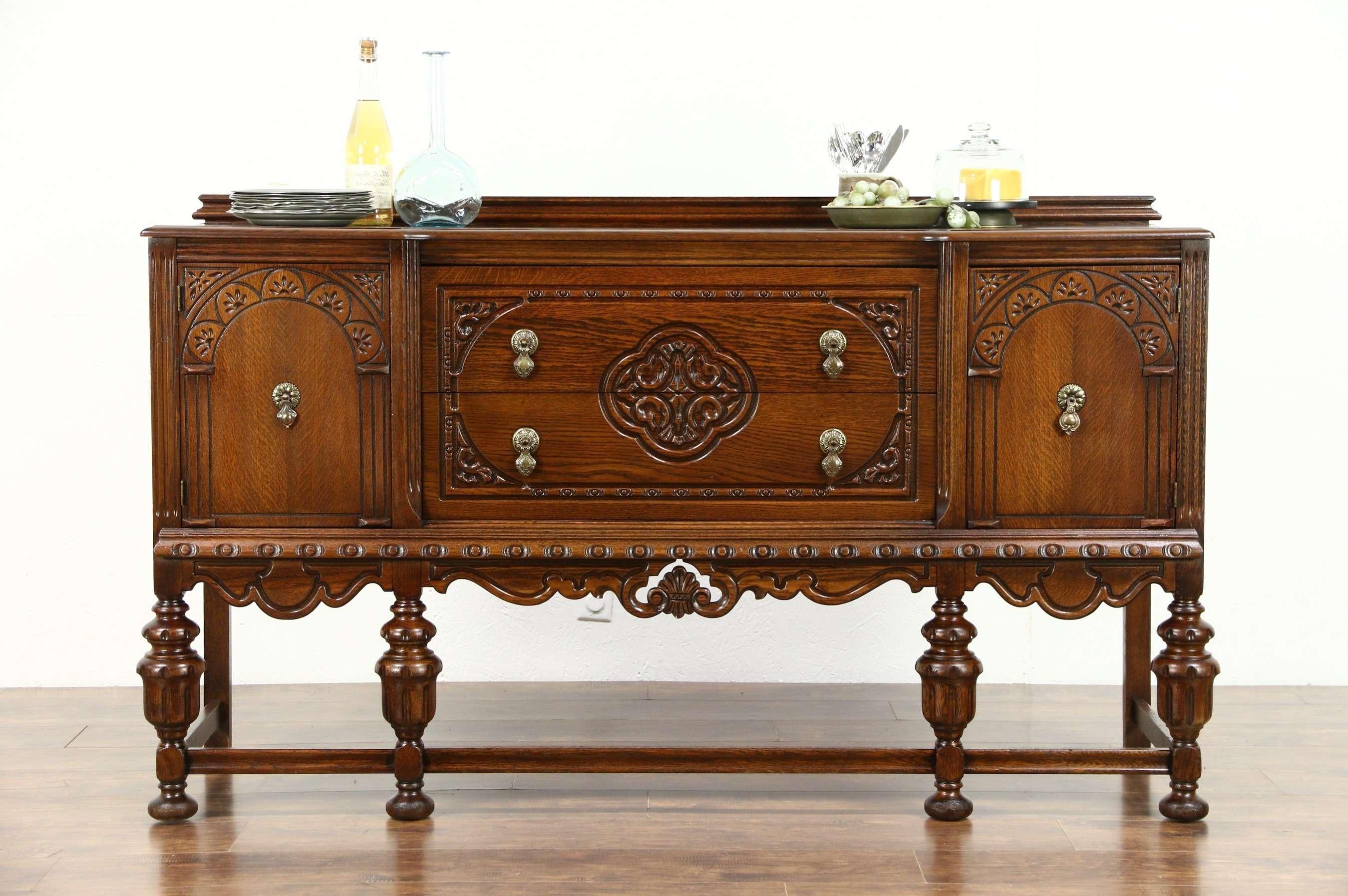 Tudor Design 1925 Antique Carved Oak Sideboard, Server Or Buffet Throughout Antique Oak Sideboards (View 17 of 20)