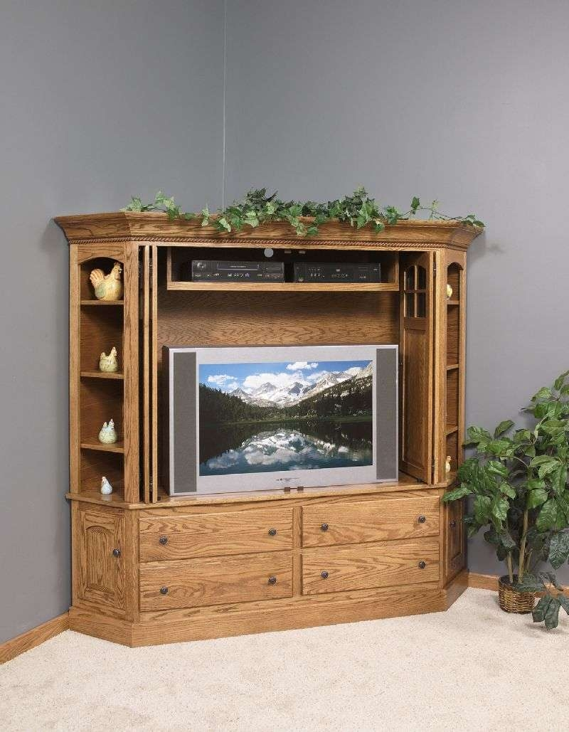 Tv Armoire Cabinet Wooden Corner Unique Idea Intended For Cabinets