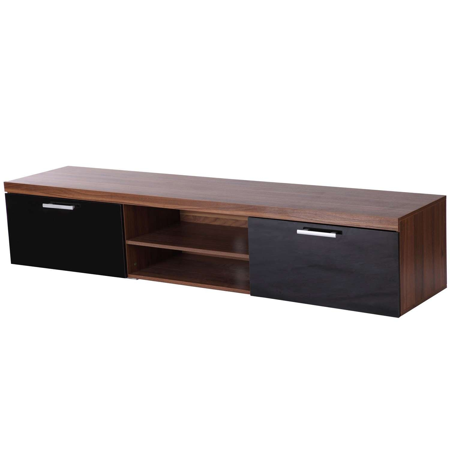 Tv Cabinet Unit, 2 High Gloss Doors Black/walnut Regarding Walnut Tv Cabinets (View 17 of 20)