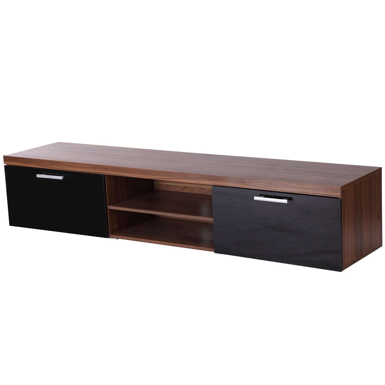 Tv Cabinet Unit, 2 High Gloss Doors Black/walnut Regarding Walnut Tv Cabinets (View 2 of 20)