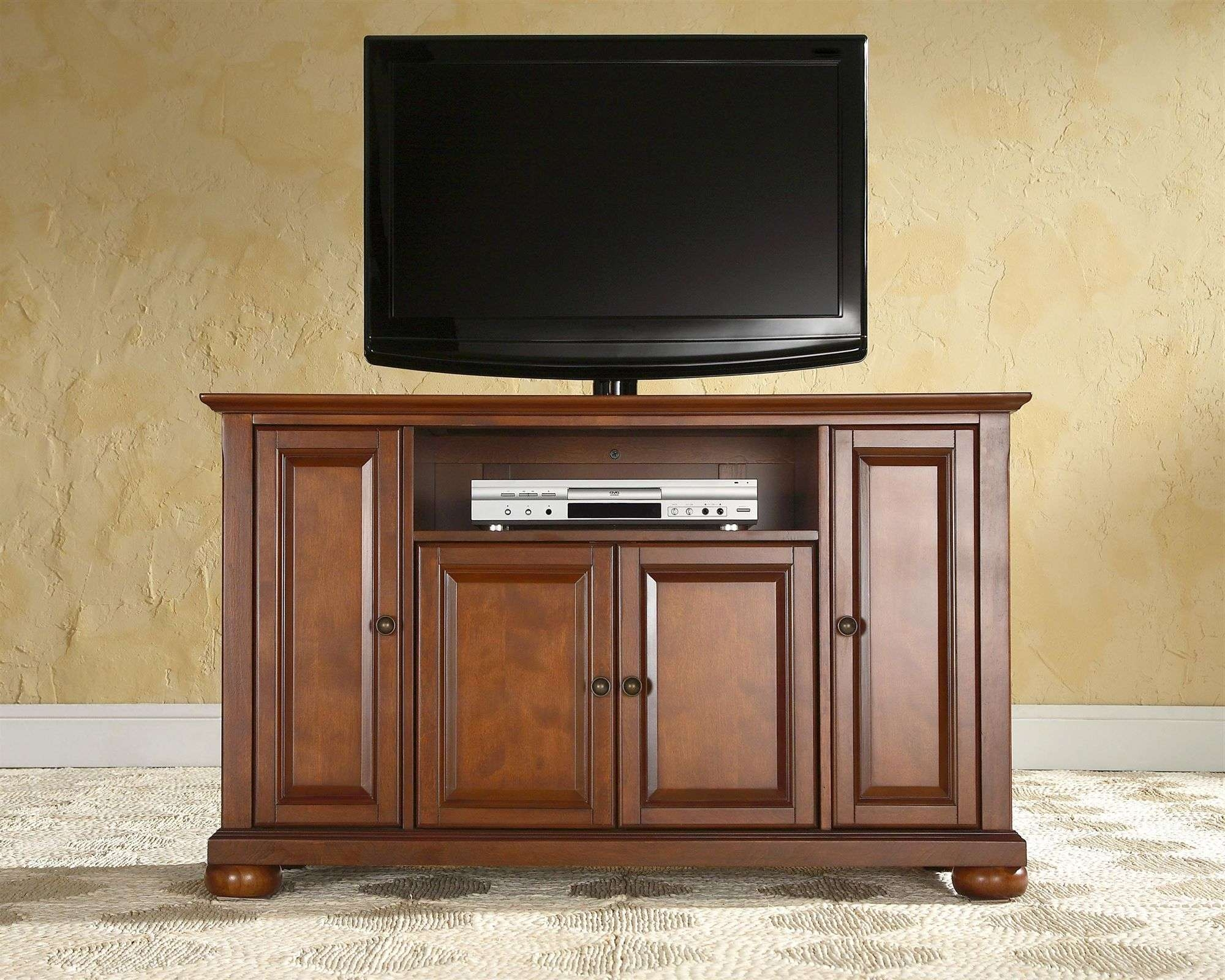 Tv Cabinet With Doors And Drawers In Stylish Flat Interior Brown Throughout Enclosed Tv Cabinets For Flat Screens With Doors (View 9 of 20)