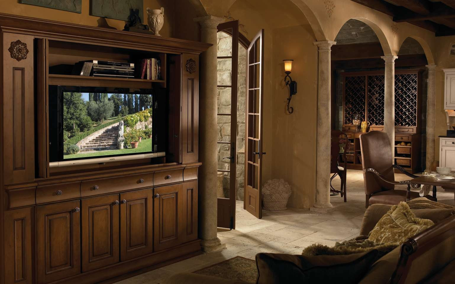 Tv Cabinet | Wood Mode | Fine Custom Cabinetry Throughout Large Tv Cabinets (View 11 of 20)