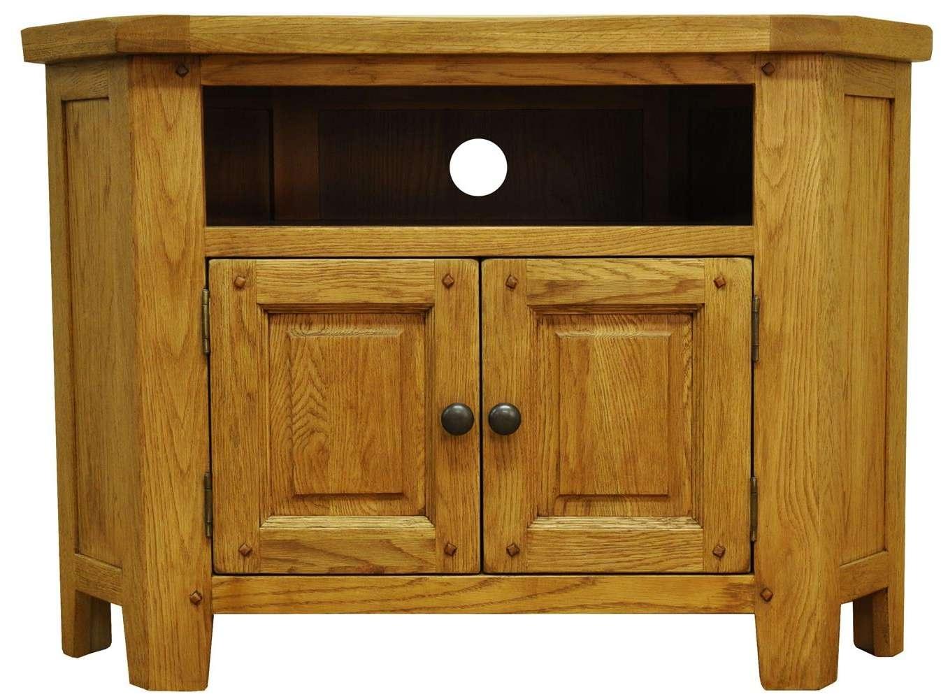 Tv Cabinets : Stanton Rustic Oak Corner Tv Unitstanton Rustic Oak With Dark Wood Corner Tv Cabinets (View 7 of 20)
