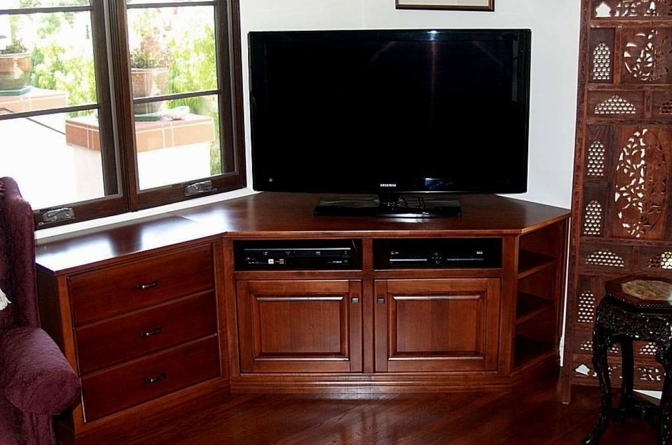 Tv Exotic Corner Oak Cabinets For Flat Screens With Doors Within