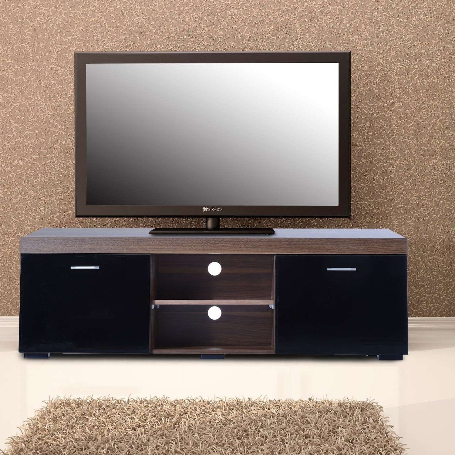 Tv Stand Storage Cabinet W/ Shelves Walnut/black Within Tv Cabinets With Storage (View 4 of 20)